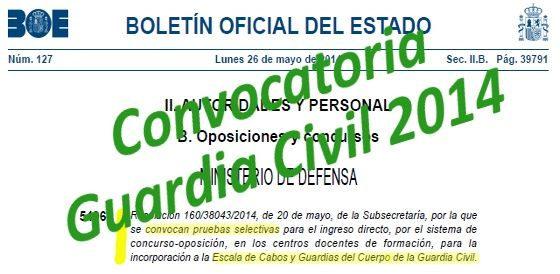 Convocatoria Oposiciones Guardia Civil 2014