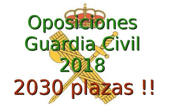Convocatoria Oposiciones Guardia Civil 2018